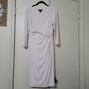 White Cream Wrap Drape Dress